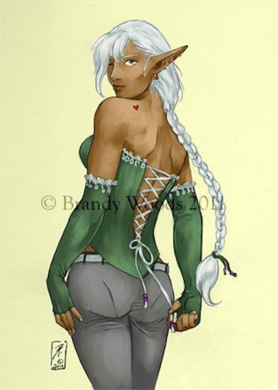 Sexy Dark Elf Female Fantasy Pin Up Aceo Art Artwork Print Etsy