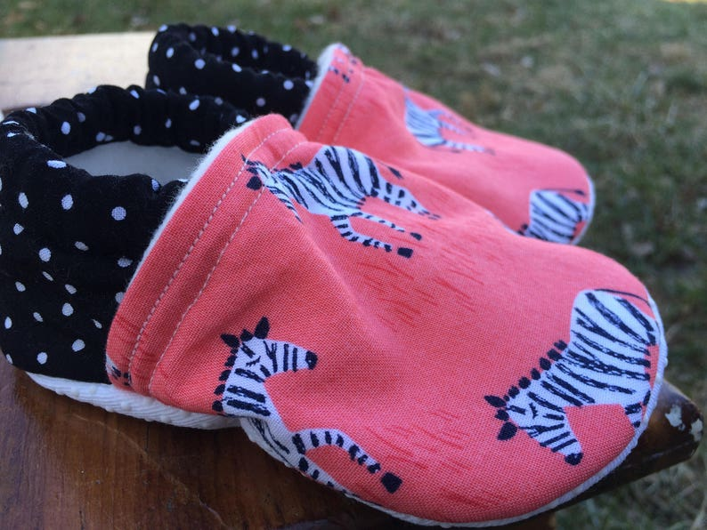 Baby Shoes  Coral Pink Zebra Print with Black Polka-Dot image 0
