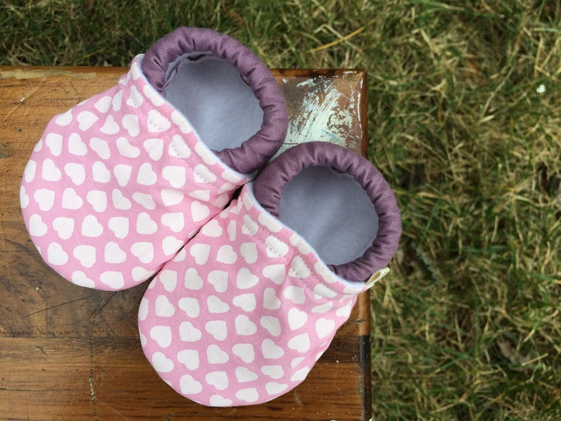 Baby Shoes  Pink and Dusty Purple with White Hearts  Custom image 0