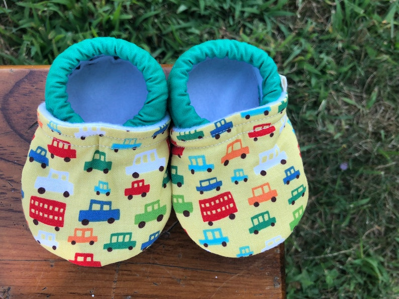 Baby Shoes  Green Blue Red and Orange Car Print  Custom image 0