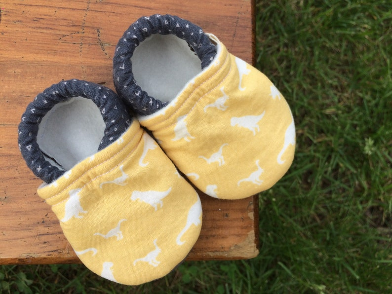 Baby Shoes  Yellow Dinosaur Print with Dark Grey Fabric  image 0