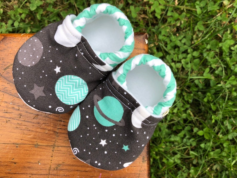 Baby Shoes  Charcoal Grey Teal and White Space Fabric with image 0
