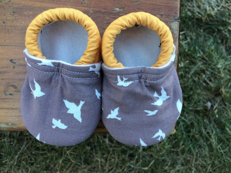 Baby Shoes  Grey Flying Bird Fabric with Mustard Yellow Solid image 0