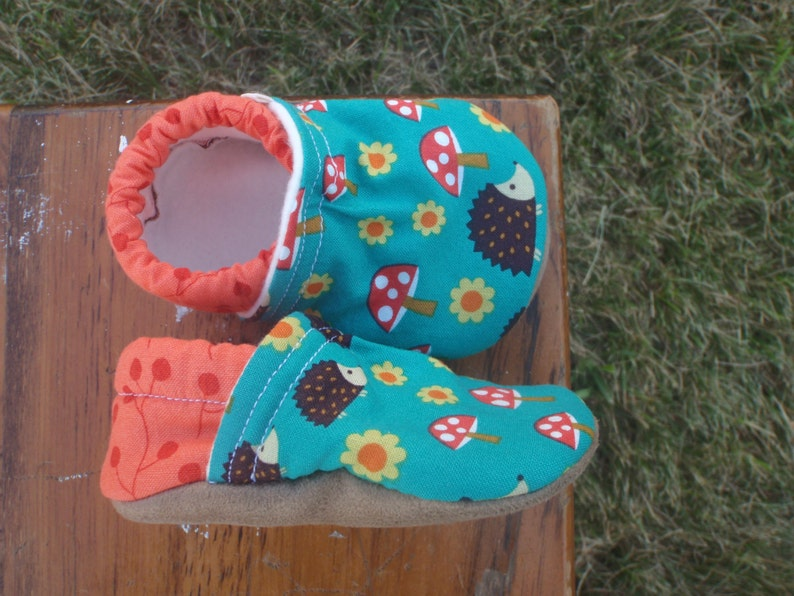 Baby Shoes  Teal Mushroom and Hedgehog Fabric with Orange image 0