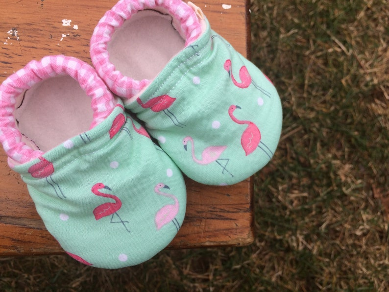 Baby Shoes  Pink Flamingoes on Mint with Pink Gingham  image 0