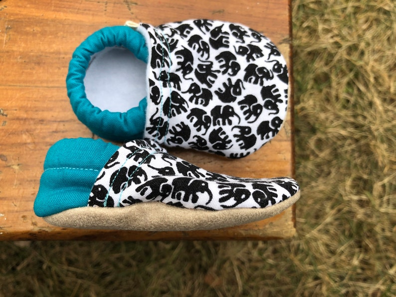 Baby Shoes  Teal Blue With Black and White Elephant Fabric  image 0