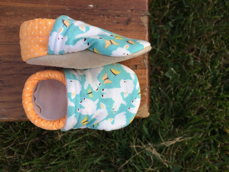 Baby Shoes  Light Blue Lamb Shoes with Orange Polka Dots  image 0