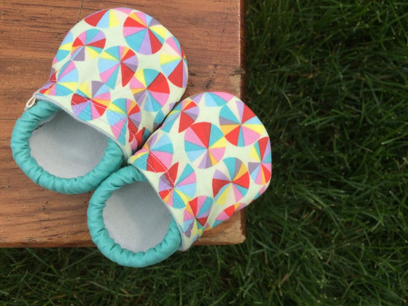 Baby Shoes  Kaleidoscope of Colors  Made to Order Sizes 0-24 image 0