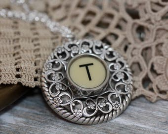"""Typewriter Key Necklace - Vintage White Letter """"T""""-Intial Letter """"T"""" Pendant-Typewriter Key Jewelry-Typewriter T Pendant-Letter T Pendant"""
