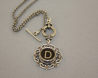 """Typewriter Key Necklace - Vintage Black Typwriter Key-Letter """"D""""-Typewriter Key Jewelry-Typewriter Accessory-Glass Covered """"D""""-Toggle Clasp"""