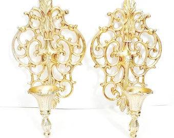 vintage set of Two Vintage gold tone metal Retro Wall Sconces  Mid Century Gold Wall Candle Holders wall decor