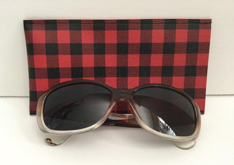Buffalo Plaid Faux Leather Sunglass Case