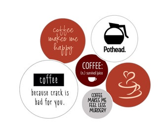 Coffee Rules! 5 Pack of 1 inch Coffee Pins