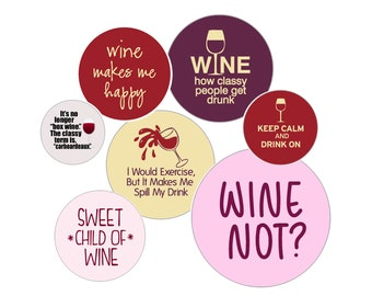 WINE - 5 Pack Buttons - 1 inch Pins