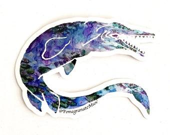 MONETsasaur - Monet Lillies+Mosasaur Mashup- Flora & Fossil - Vinyl Sticker