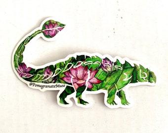 AnkyLOTUSaurus - Lotus + Ankylosaurus Mashup- Flora & Fossil - Vinyl Sticker