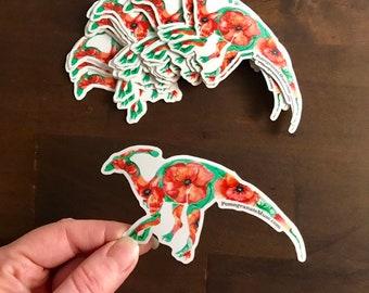 Poppysaurolophus - Poppy + Parasaurolophus Mashup- Flora & Fossil - - Glossy Vinyl Sticker 4.2x2 inches