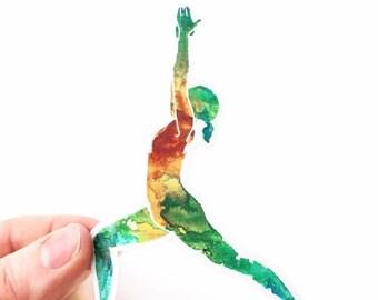 Virabhadrasana I - Warrior I - I Paint the Body Electric - Glossy Vinyl Sticker 3x4 in.