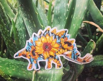 SteGOGHsaurus-Van Gogh Sunflower Stegosaurus Mashup- Flora & Fossil - Glossy Vinyl Sticker 3.8x2 inches
