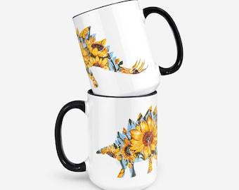 SteGOGHsaurus-Van Gogh Sunflower Stegosaurus Mashup- Flora & Fossil - 15 Oz Mug