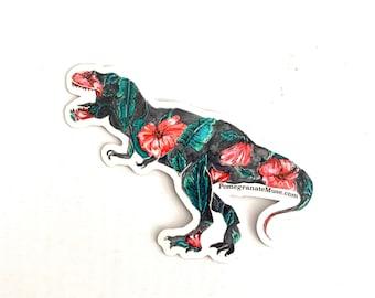 Syriacusaurus Rex - Hibiscus+ Tyrannosaurus Rex Mashup- Flora & Fossil - Vinyl Sticker