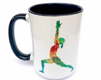 Virabhadrasana I - Warrior I Posture- I Paint the Body Electric - Mug