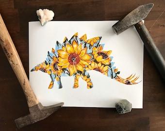SteGOGHsaurus - Van Gogh Sunflower+Stegosaurus Mashup- Flora & Fossil - Open Edition - Fine Art Giclee Print