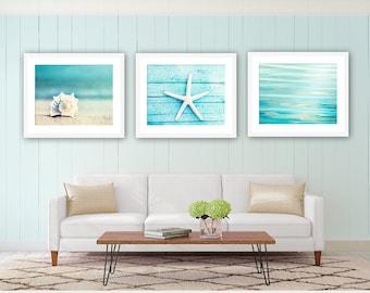 Coastal Wall Art - Seashell Beach Decor Blue Bathroom Picture Seaside Photography Print Ocean Art Print