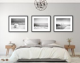 Black and White Beach Photo Set - Three 3 seashell ocean photography grey gray gallery wall coastal prints nautical artwork 11x14, 8x10, 5x7