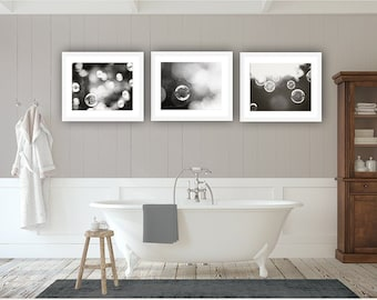 Bathroom Wall Decor - Fine Art Photography Print Black & White Gallery Wall Set of 3 Water Bubbles Poster Prints