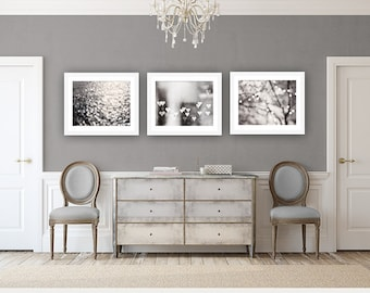 Gray Abstract Photography Set - silver grey black and white sparkle prints, bokeh wall art, neutral sparkly photo set, modern photographs