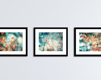 Blue Brown Photography Set, 3 Prints aqua orange teal copper turquoise beige nature photos leaves branches photography branch leaf wall art