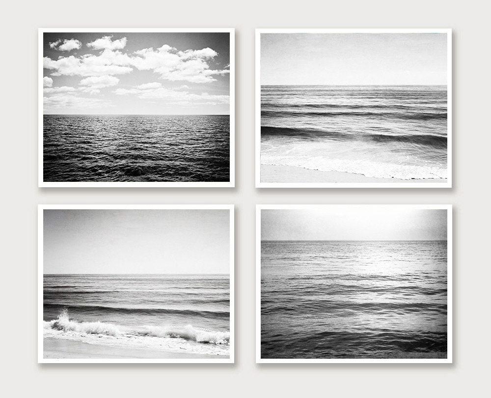 Ocean black and white photography set four seascape photographs 4 grey sea horizon landscapes gray gallery wall prints nautical photos