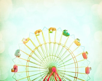 """Nursery Photography - ferris wheel circus carnival photo pastel pale red yellow green kids room - 11x14, 8x10 Photograph, """"Round and Round"""""""