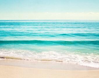 """Ocean Photography, Aqua Blue Beach Landscape, Turquoise Ocean Wall Art, Teal Beach Sea Print, Ocean Seascape, Beach Photo, """"Summer's Dream"""""""