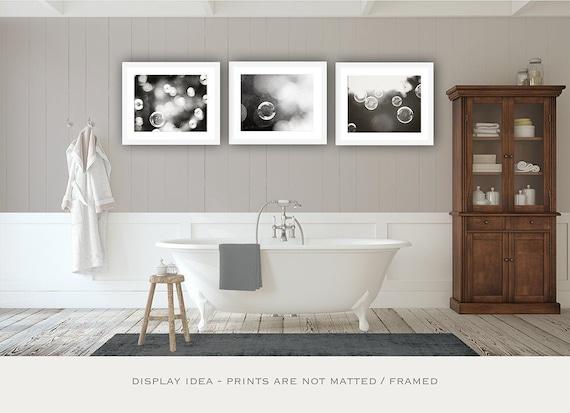 Décoration murale de salle de bain - Fine Art photographie impression noir  & blanc galerie mur lot de 3 l'eau bulles affiche tirages
