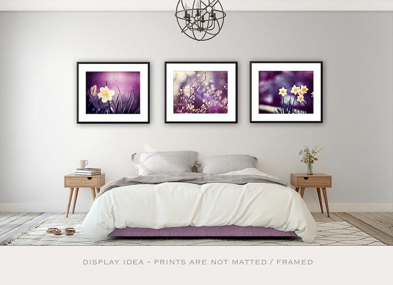 Purple Wall Art - Flower Print Botanical Fine Art Photography Bedroom Wall  Art Wall Gallery Set of 3 Wall Decor