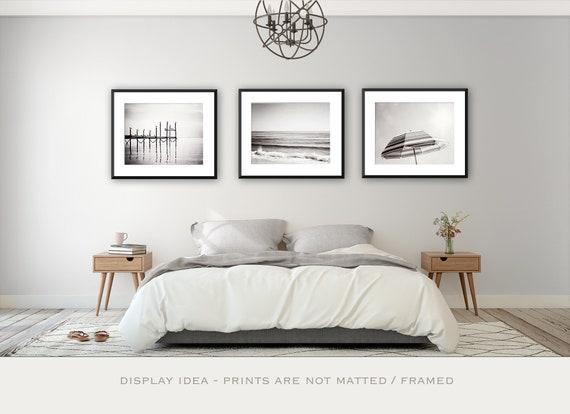 Black And White Print Set Of 3 Beach Art Three Wall Etsy