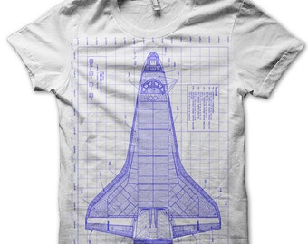 Men's Space Shuttle Diagram T-Shirt Discovery Spacecraft Blue Print Tee - White