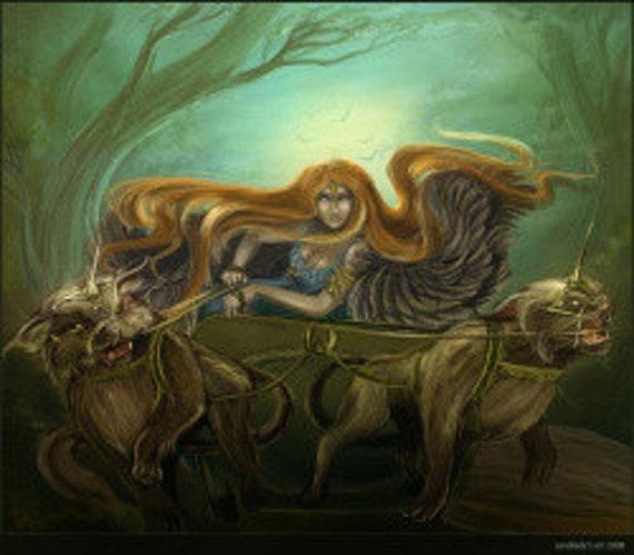 Freya In Her Chariot Prayer Card