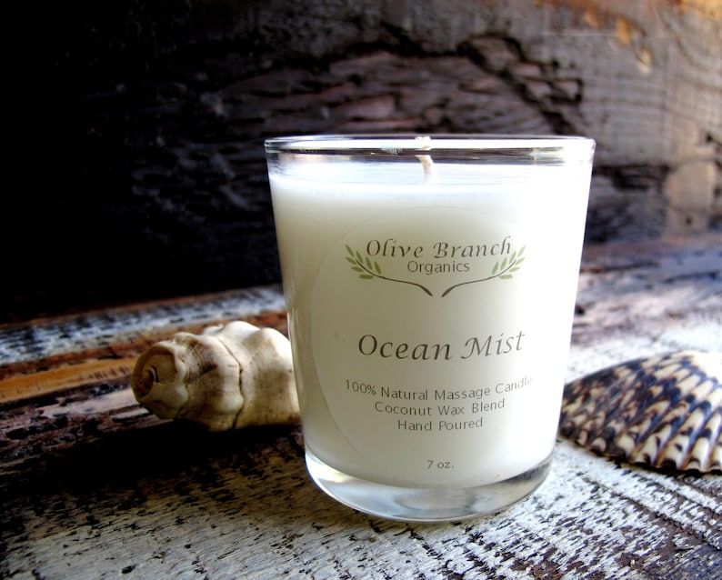 Organic Candle OCEAN MIST Coconut Wax Candle Essential Oils All Natural 7  oz