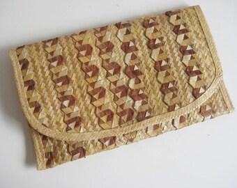 Vintage Over Size Straw Clutch / Raffia Clutch Bag / Natural Clutch Purse / Large Woven Clutch