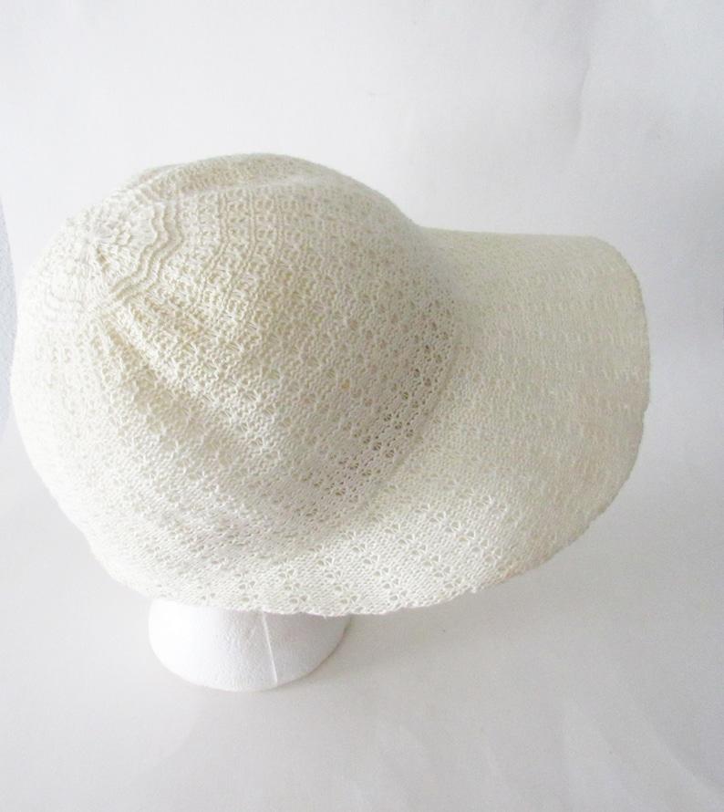Vintage Sun Hat Crocheted Floppy Sun Hat  White Sun Hat  Knit Sun Hat