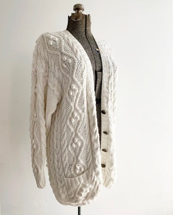 Vintage Popcorn Knit Cardigan / Cable Knit Cardiga