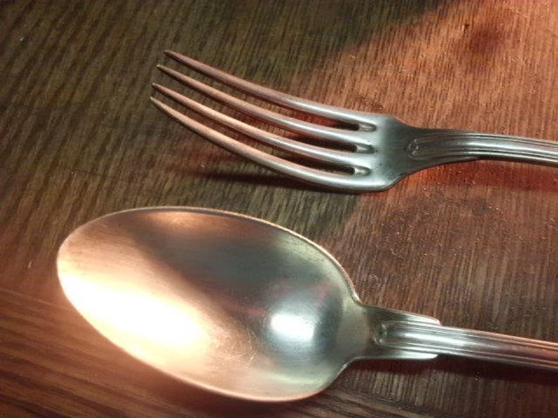 FREE SHIPPING French Boxed Set Desert Spoon and Fork