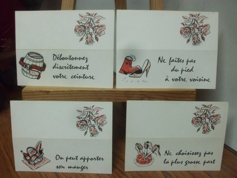 Individual French Humour Place Name Cards.