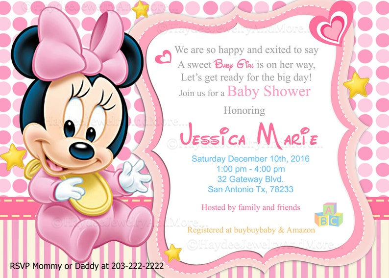 Mickey And Minnie Disney Baby Shower Invitation In 2019 Products