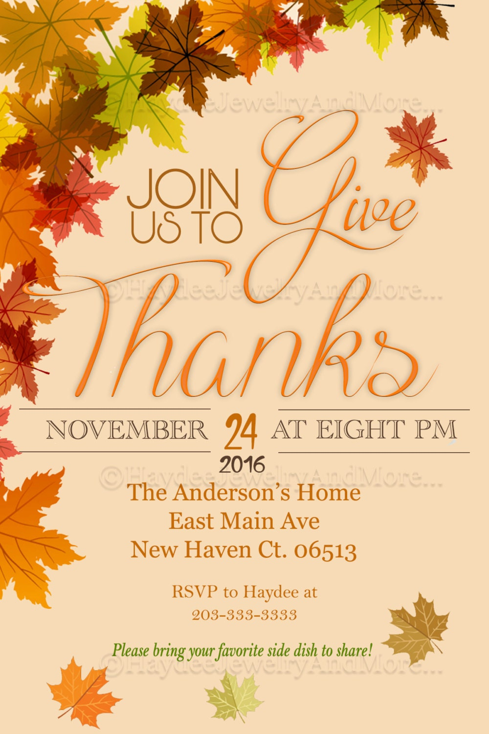 Thanksgiving Invitation Card Join Us To Give Thanks Invitation Etsy