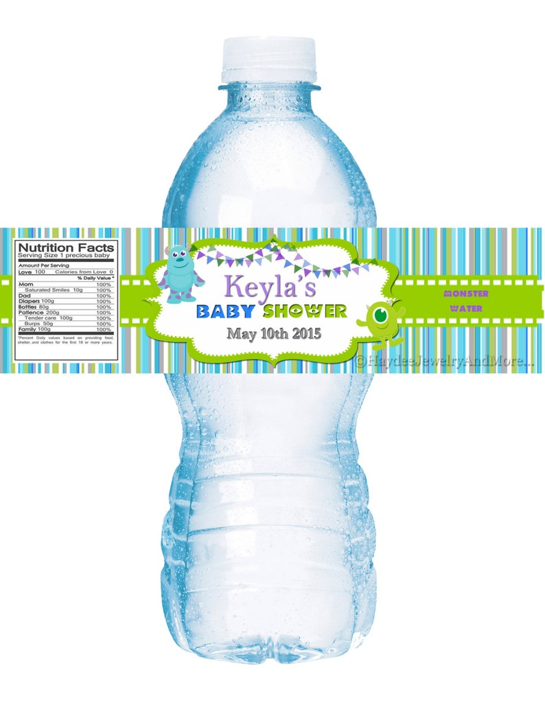 b087845ddb70 Monster Inc water bottle labels Moster inc Theme Baby Shower Or Monster Inc  Birthday Party