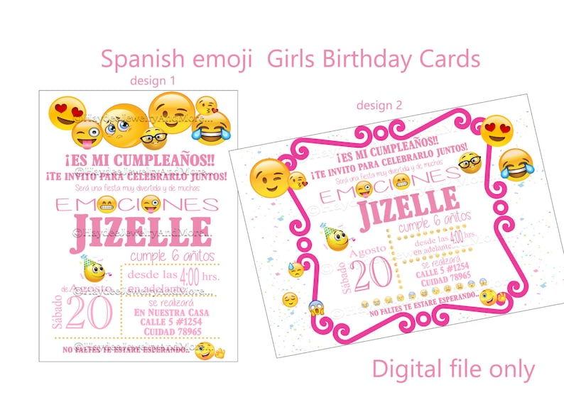 Spanish Emoji Girls Birthday Card Theme Party Pink Printable Digital File Only